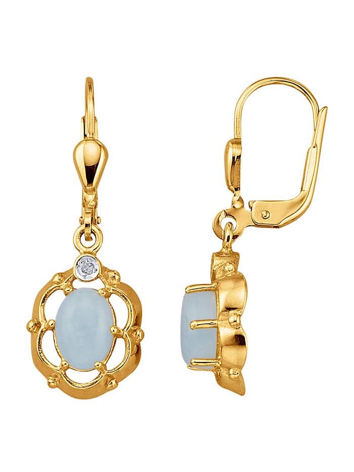 Oorbellen met Milky aquamarijnen en diamanten, Blauw