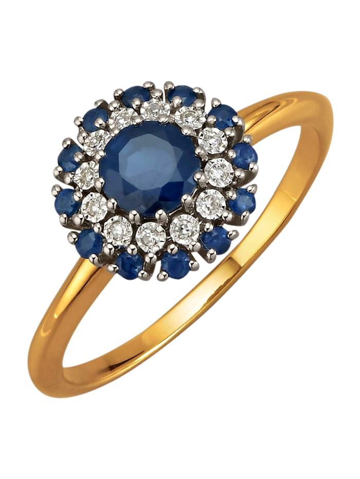 Diemer Farbstein Damenring mit Saphiren, Blau
