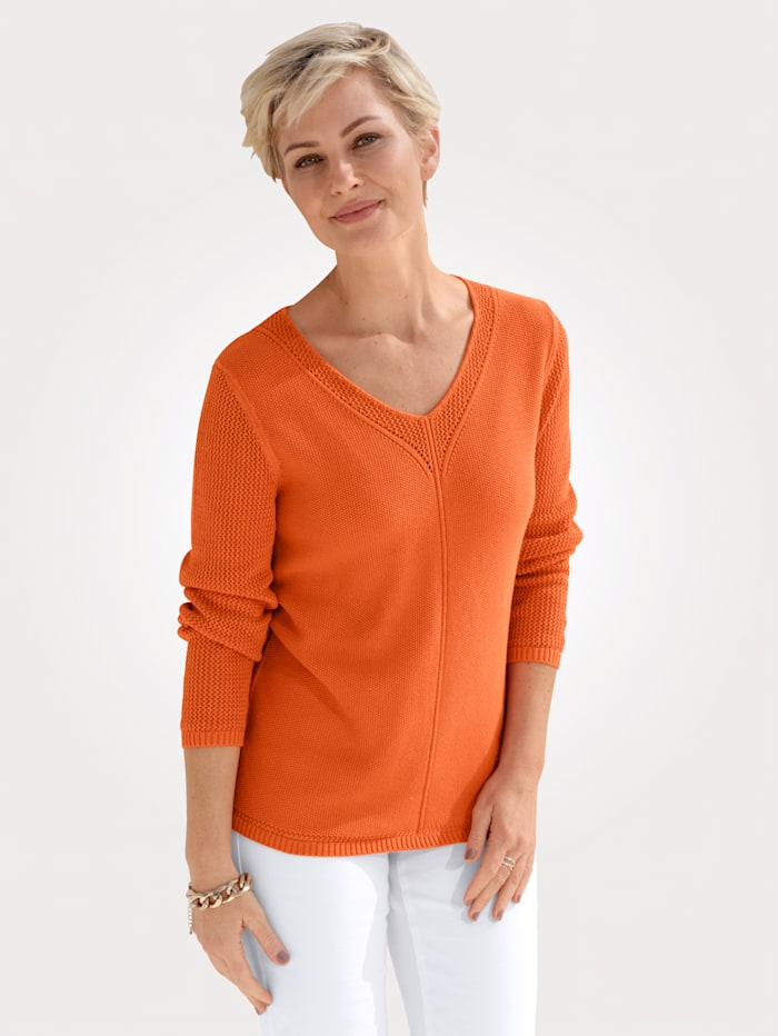 MONA Pullover in Reiskorn-Struktur, Orange