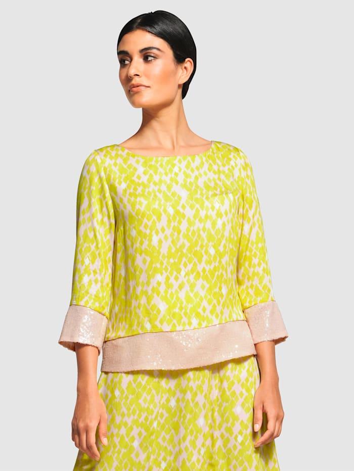 Alba Moda Bluse mit Pailletten Verzierung, Grün/Beige