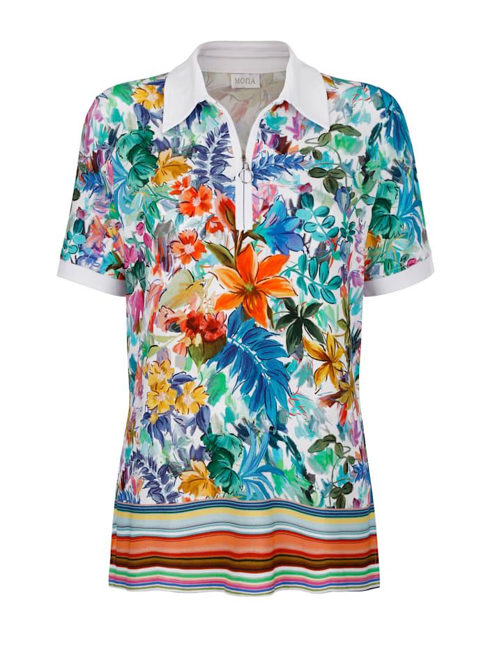 Poloshirt mit vielfarbigem Floral-Druck