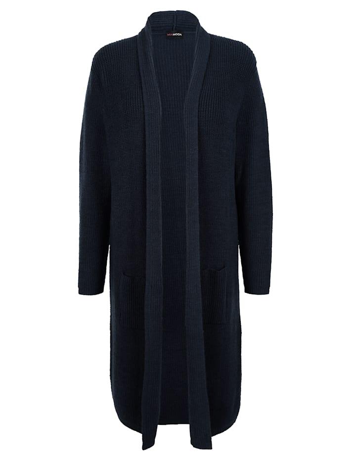 MIAMODA Longstrickjacke mit praktischen Taschen, Marineblau