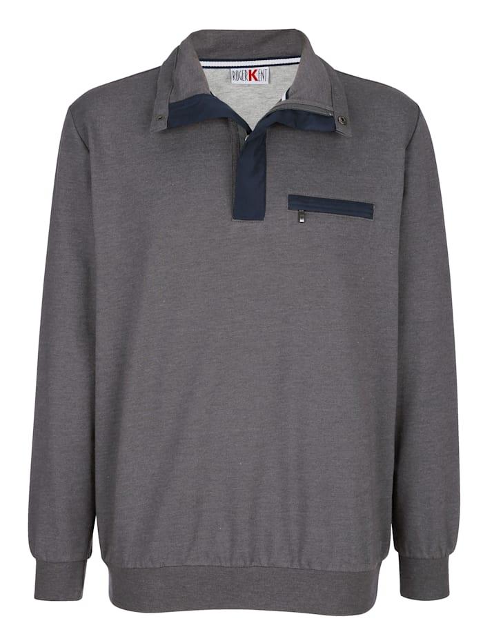 Roger Kent Sweatshirt mit aufwendigen Kontrastdetails, Anthrazit