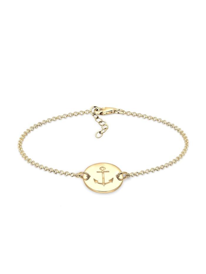 Elli Armband Anker Plättchen Trend 925Er Sterling Silber Ancre, Gold
