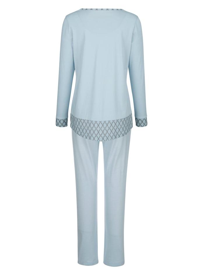 Pyjama met contrastinzetten aan de mouwen
