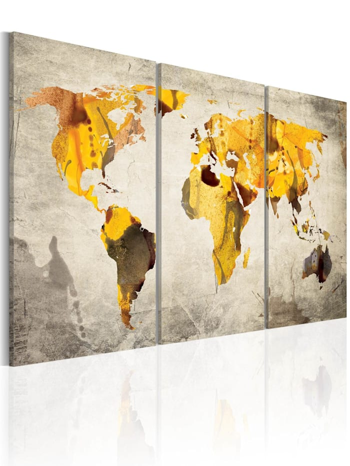 artgeist Wandbild Gelbe Kontinente, Gold,Grau,Weiß
