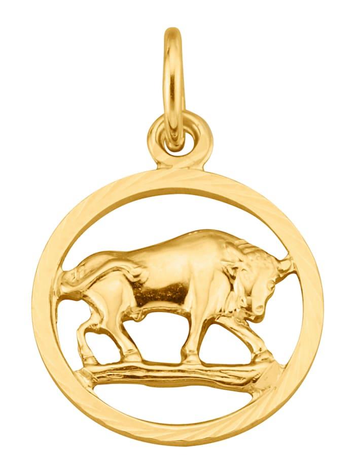Pendentif Signe du zodiaque Taureau en or jaune 375, Coloris or jaune