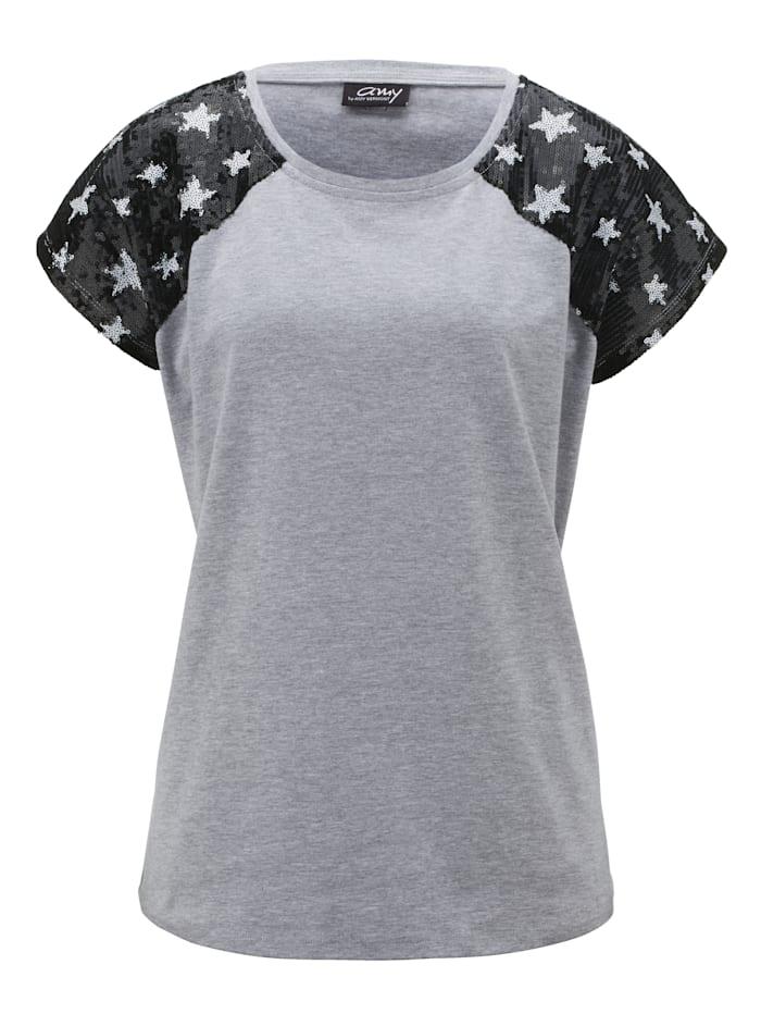 AMY VERMONT Shirt mit Paillettendeko, Grau