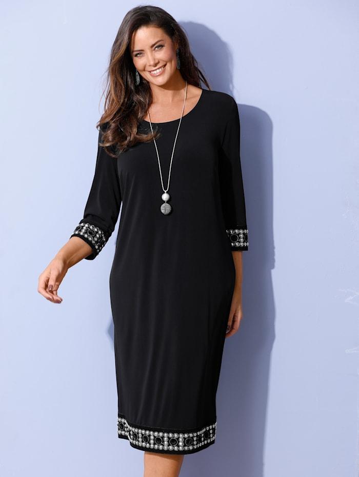 MIAMODA Kleid mit aufwändiger Bordüre an Ärmeln und Saum, Schwarz