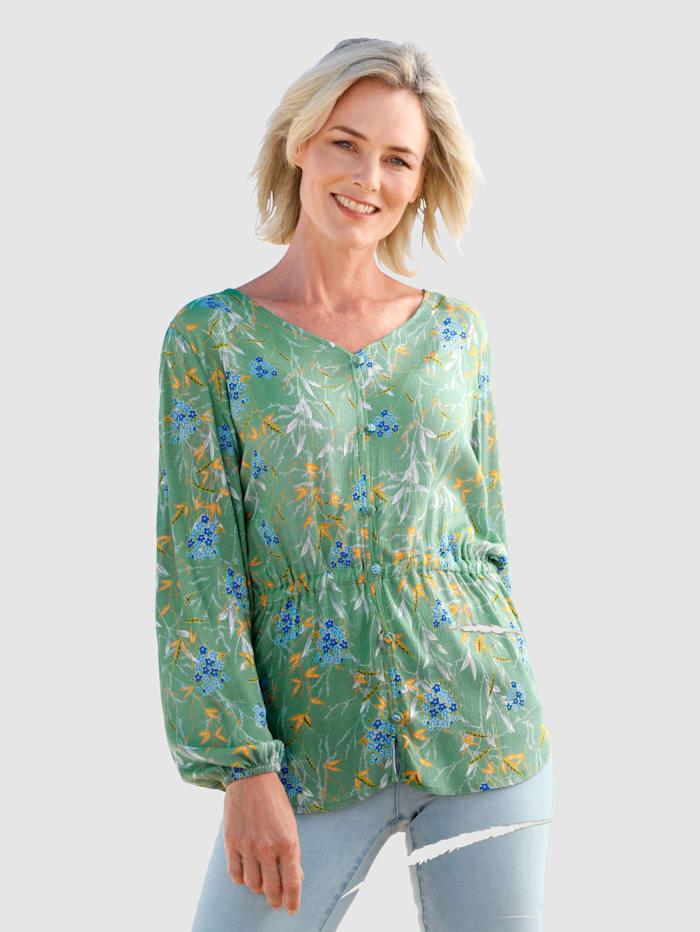 Dress In Bluse mit schönem Blumendruck, Salbeigrün