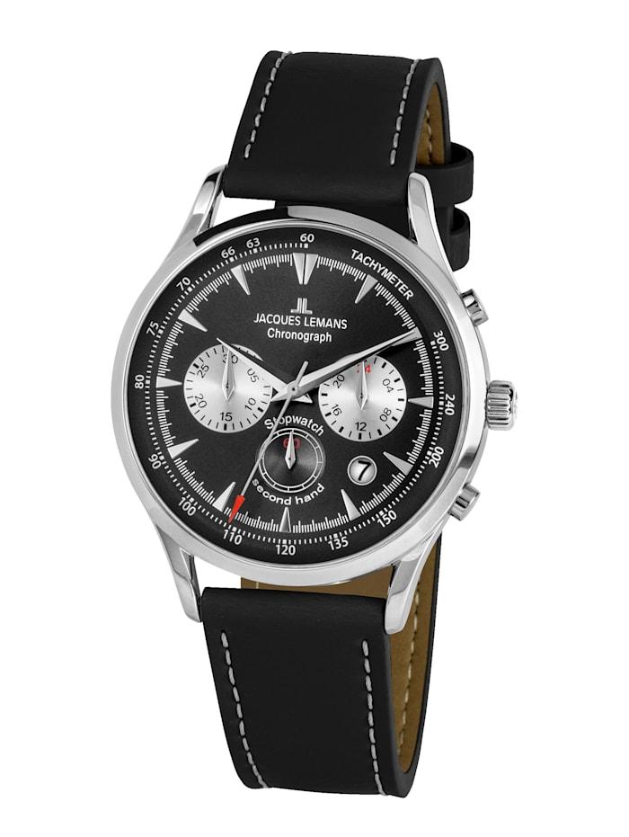 Jacques Lemans Herren-Uhr Chronograph Serie: Retro Classic, Kollektion: Retro Classic:1- 2068A, Schwarz