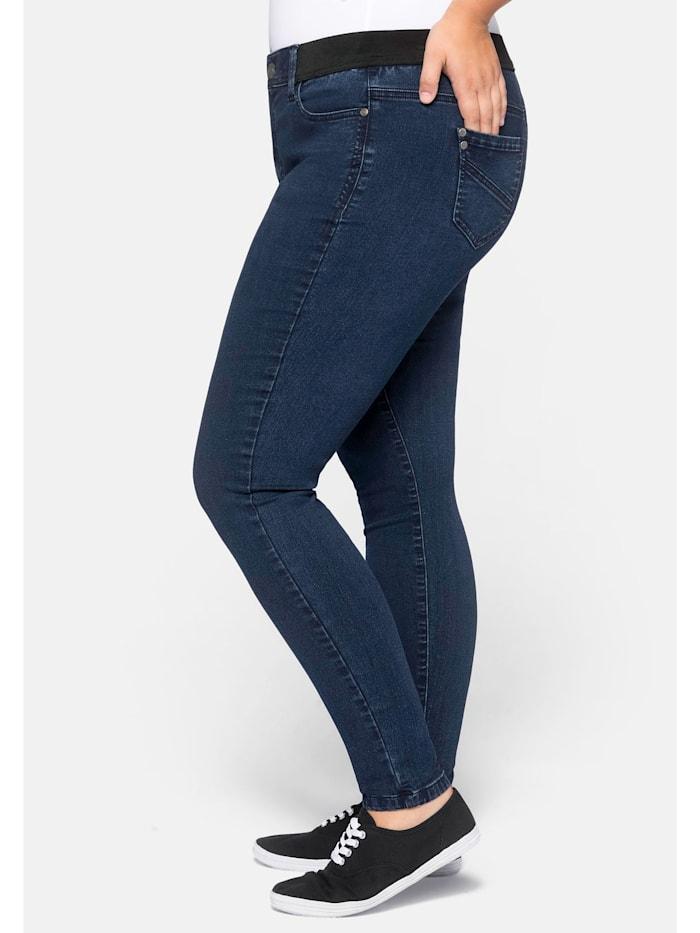 Sheego Jeans in hoch elastischer Qualität, dark blue Denim