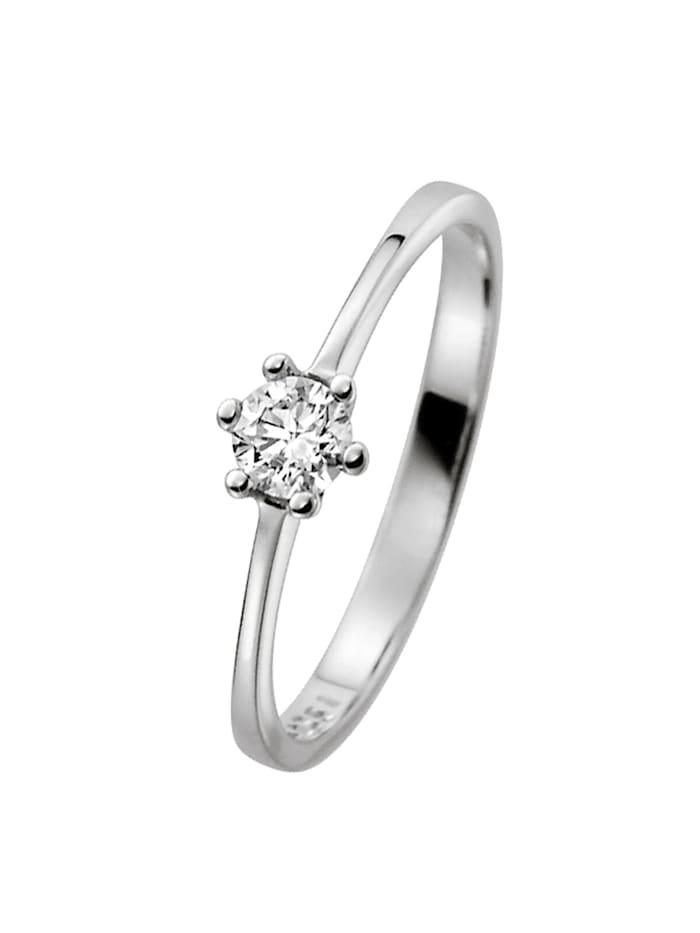 trendor Damenring 585 Weißgold mit Brillant Verlobung Heiratsantrag, silber