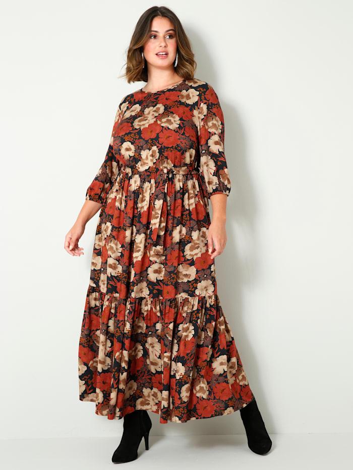 Sara Lindholm Maxi-jurk van zuivere viscose, Zwart/Hazelnoot