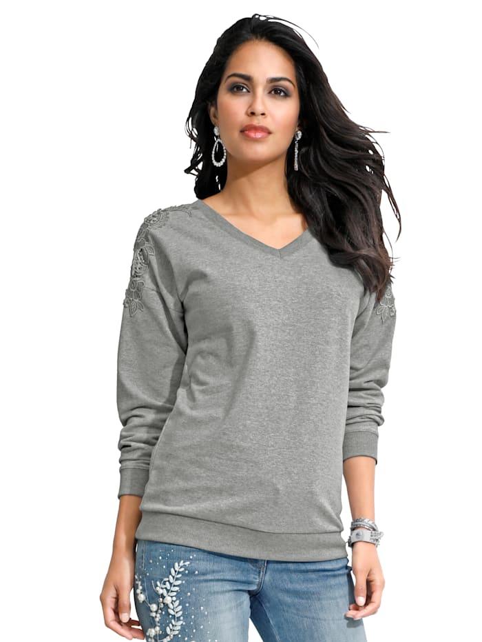 Sweatshirt mit Spitze und Strasssteindekoration