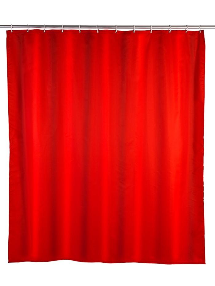 Wenko Anti-Schimmel Duschvorhang Uni Red, Textil (Polyester), 180 x 200 cm, waschbar, Rot