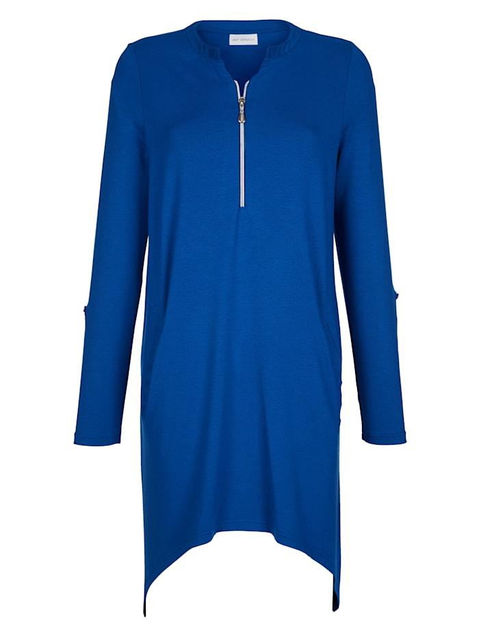AMY VERMONT Zipfelshirt mit Reißverschluss am Ausschnitt, Royalblau