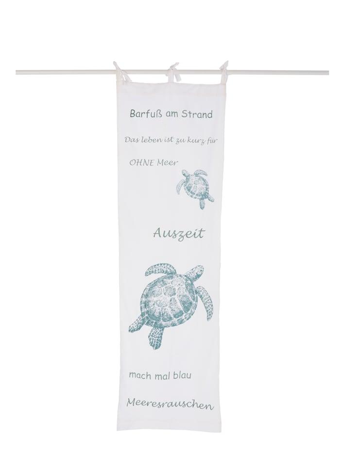 IMPRESSIONEN living Organdy-Vorhang, Schildkröte, weiß/türkis