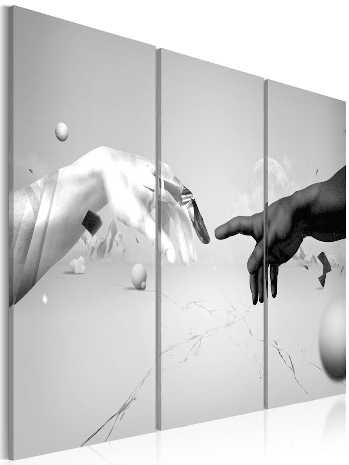artgeist Wandbild Berührung in schwarz-weiß, Weiß,Schwarz,Grau