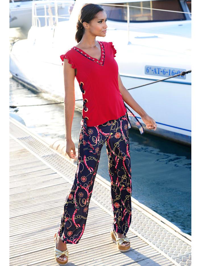 Alba Moda Strandhose mit attraktiver Bundlösung, Blau-Bunt