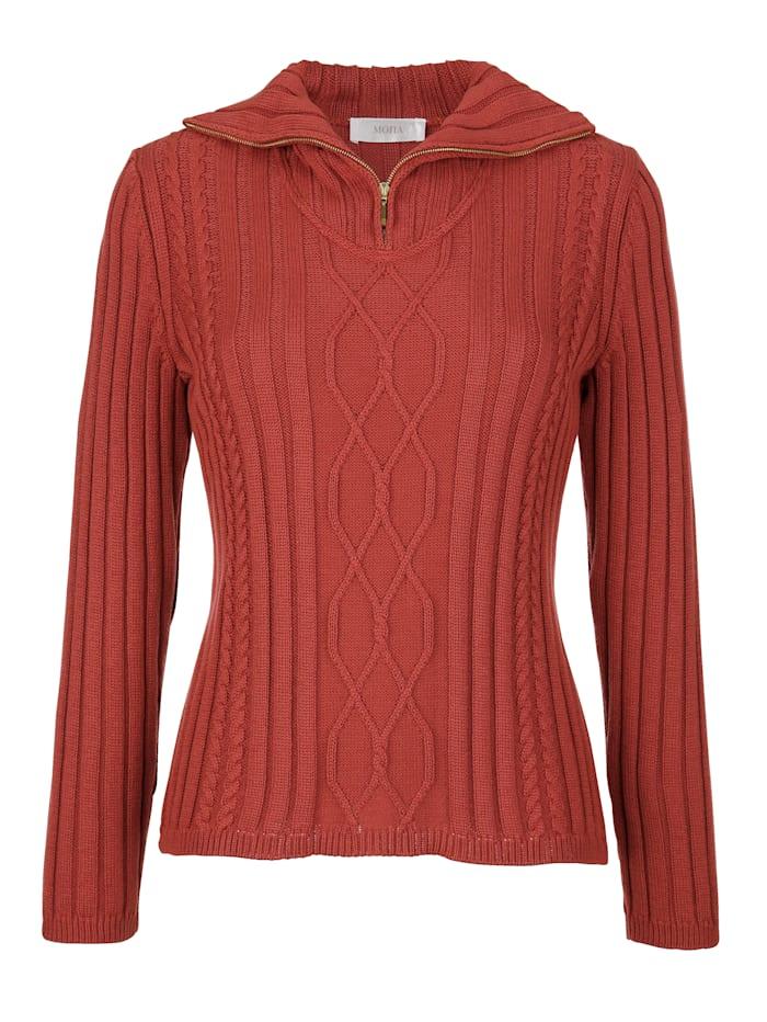 Pullover mit geripptem Troyerkragen