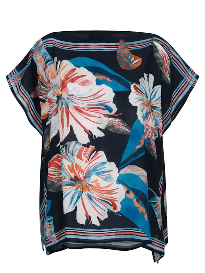 Alba Moda Blouse de plage à imprimé foulard, Bleu