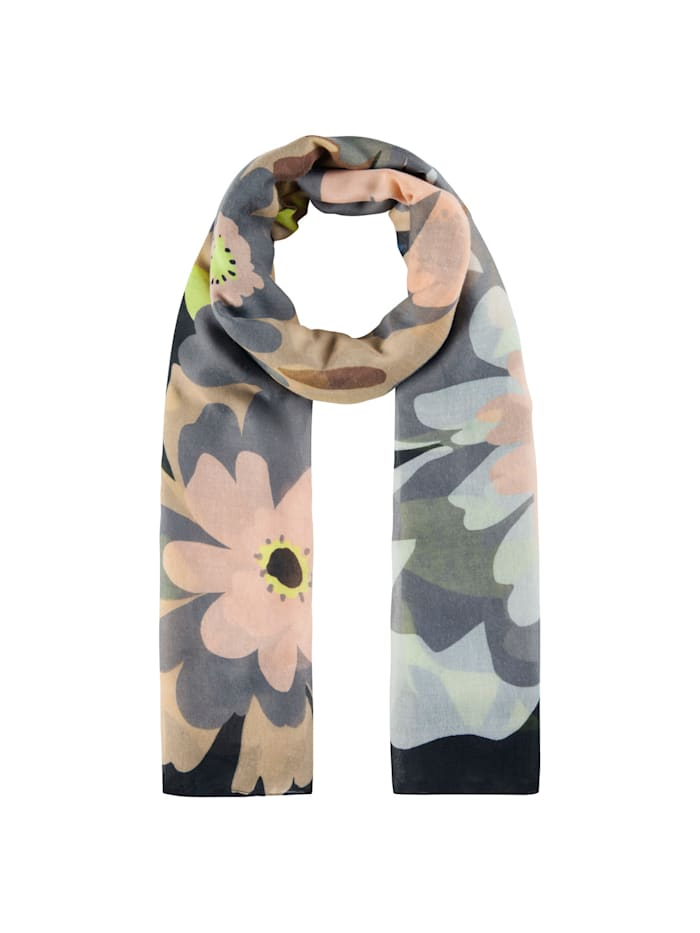 Codello XL-Schal mit Jumbo Flowers aus recyceltem Polyester, brown