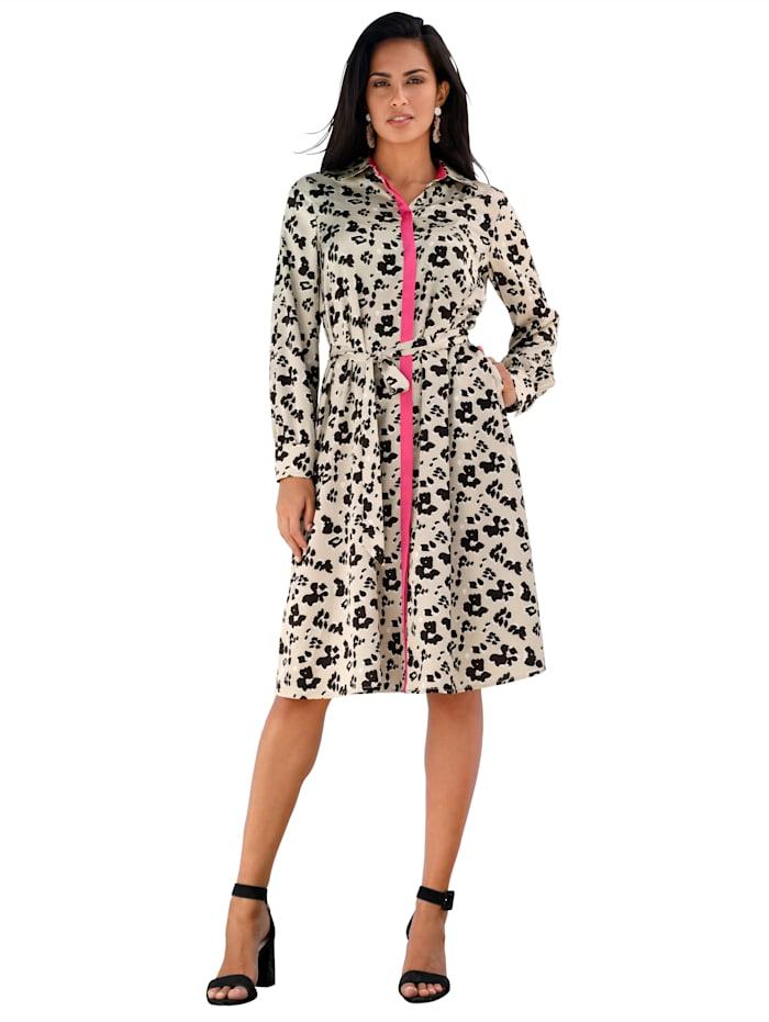 AMY VERMONT Kleid mit Leodruck, Sand/Schwarz/Pink