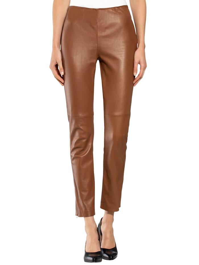 Alba Moda Leren broek van hoogwaardig lamsnappa, Cognac