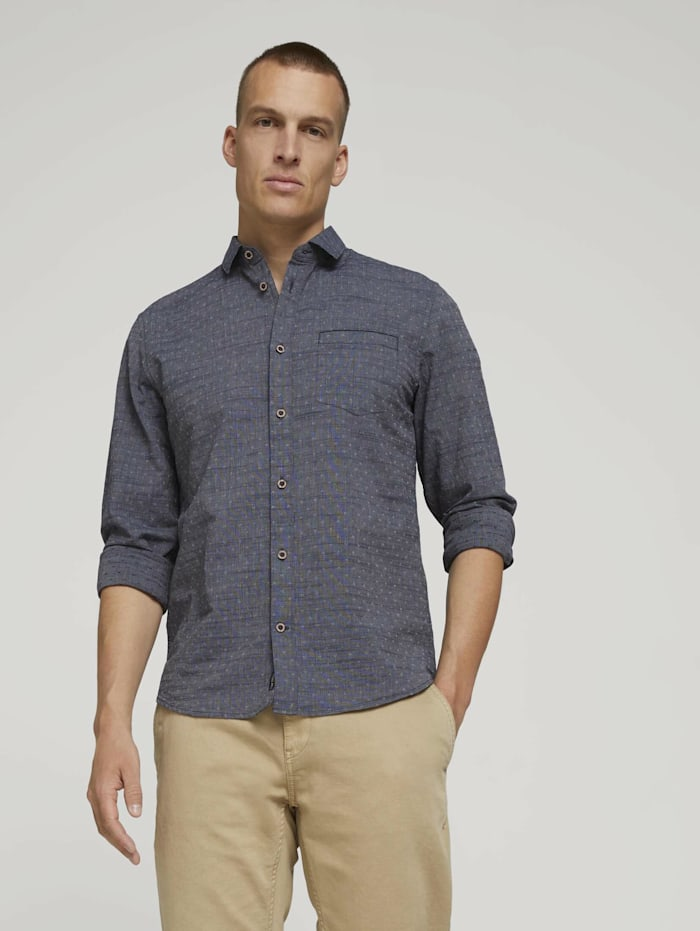 Tom Tailor Strukturiertes Hemd, navy white structure