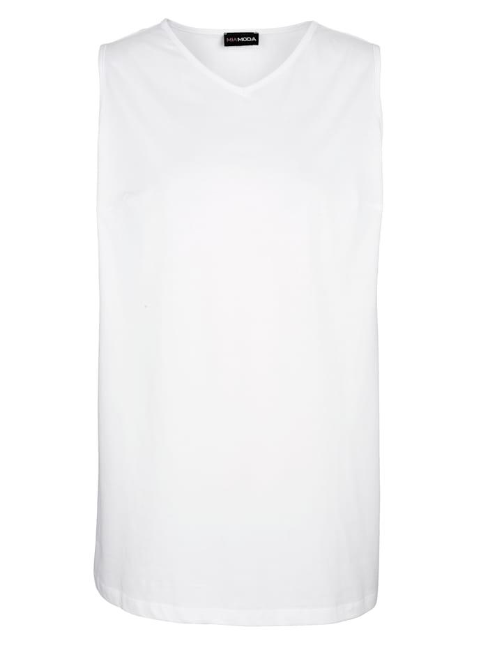 MIAMODA Top aus reiner Baumwolle, Weiß