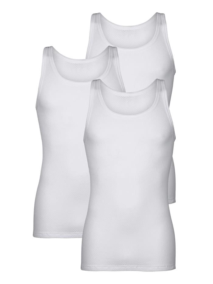 Pfeilring Unterhemden im 3er-Pack aus feiner Netzqualität, Weiß