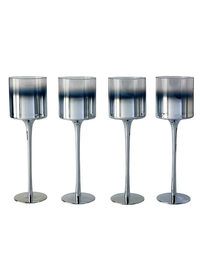 IMPRESSIONEN living Teelichthalter-Set, 4-tlg., silberfarben