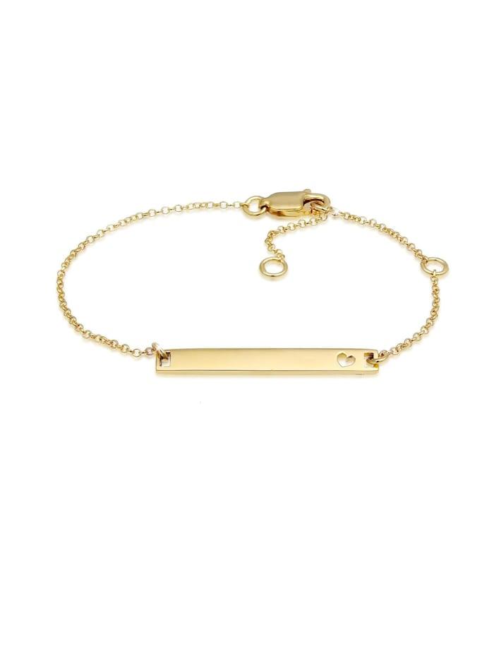 Elli Premium Armband Kinder Herz Geburt Taufe Namensband 375 Gelbgold, Gold