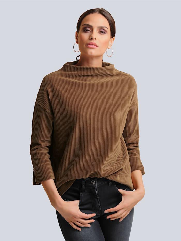 Alba Moda Shirt im modischen Breitcord, Cognac