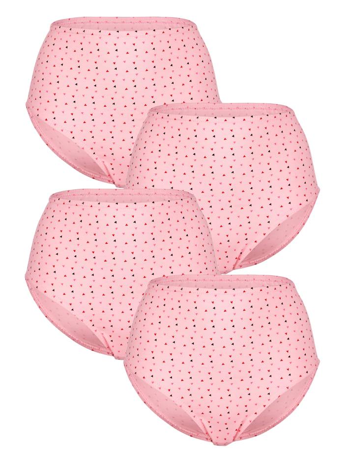 Harmony Taillenslips im 4er-Pack im Allover Druck, Rosé