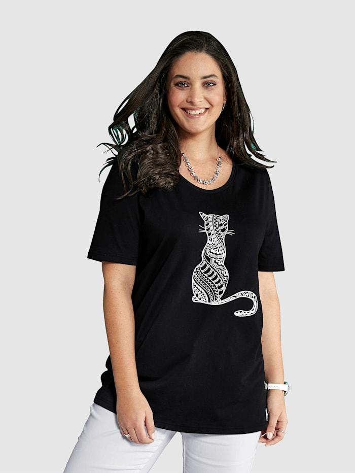 MIAMODA Tričko s motivem kočky, Černá