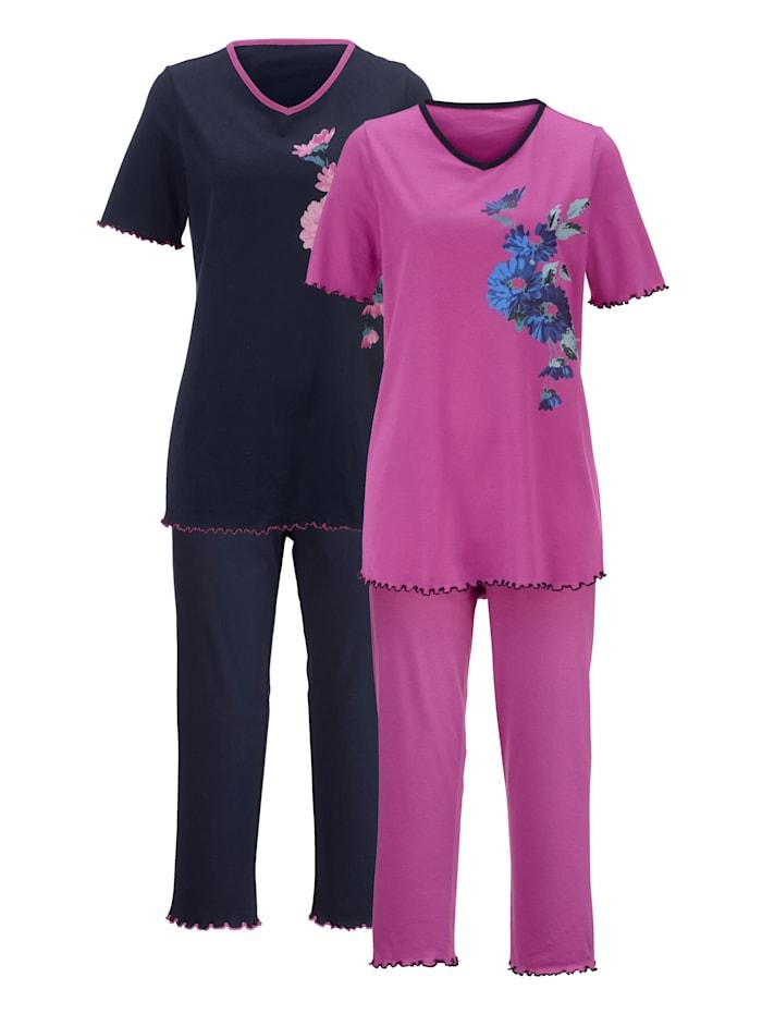 Harmony Pyjamas med kontrasterande kanter, Fuchsia/Marinblå