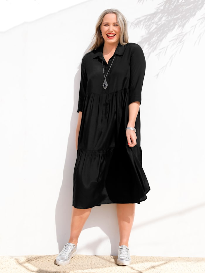 MIAMODA Kleid in Stufenform, Schwarz