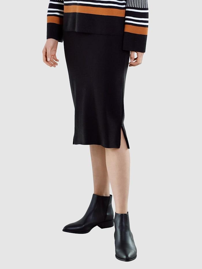 Laura Kent Sukňa v pletenej kvalite, Čierna