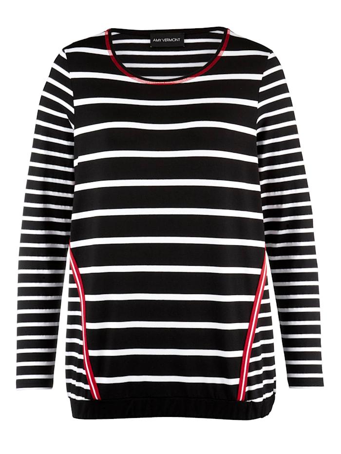 AMY VERMONT Shirt im Streifendessin, Schwarz/Rot/Weiß