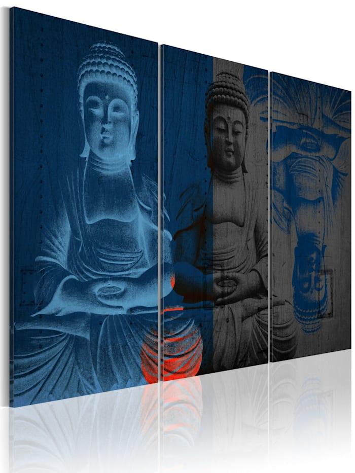 artgeist Wandbild Buddha - Skulptur, Schwarz,Grau,Dunkelblau,Rot