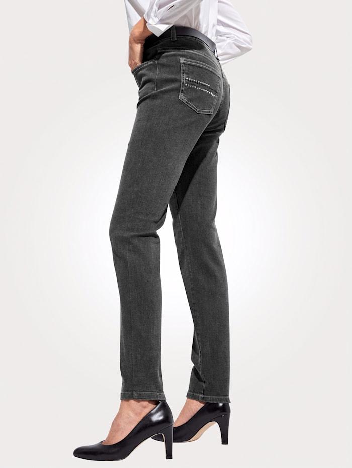 MONA Jeans mit dekorativem Strasszier, Dunkelgrau