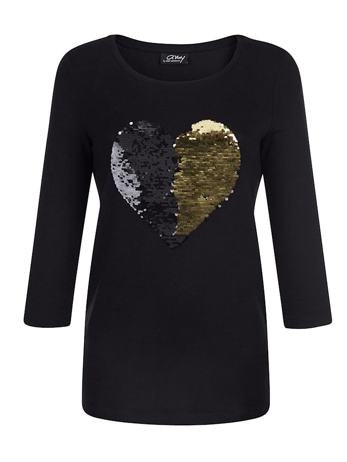 AMY VERMONT Shirt mit Paillettenmotiv, Schwarz/Goldfarben