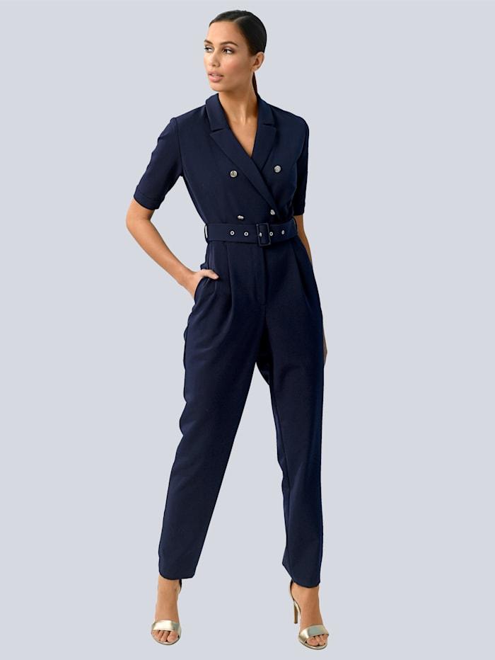 Alba Moda Combi-pantalon à élégant aspect deux rangs, Marine