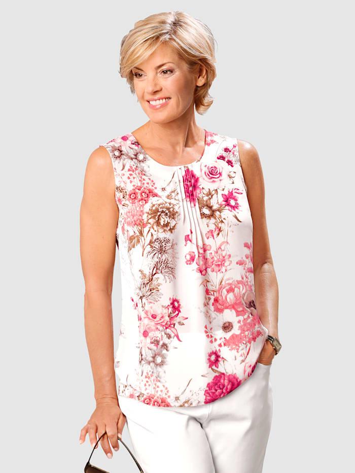 Paola Top mit Blumendruck, Weiß