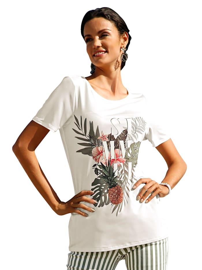 Shirt met print en strassteentjes