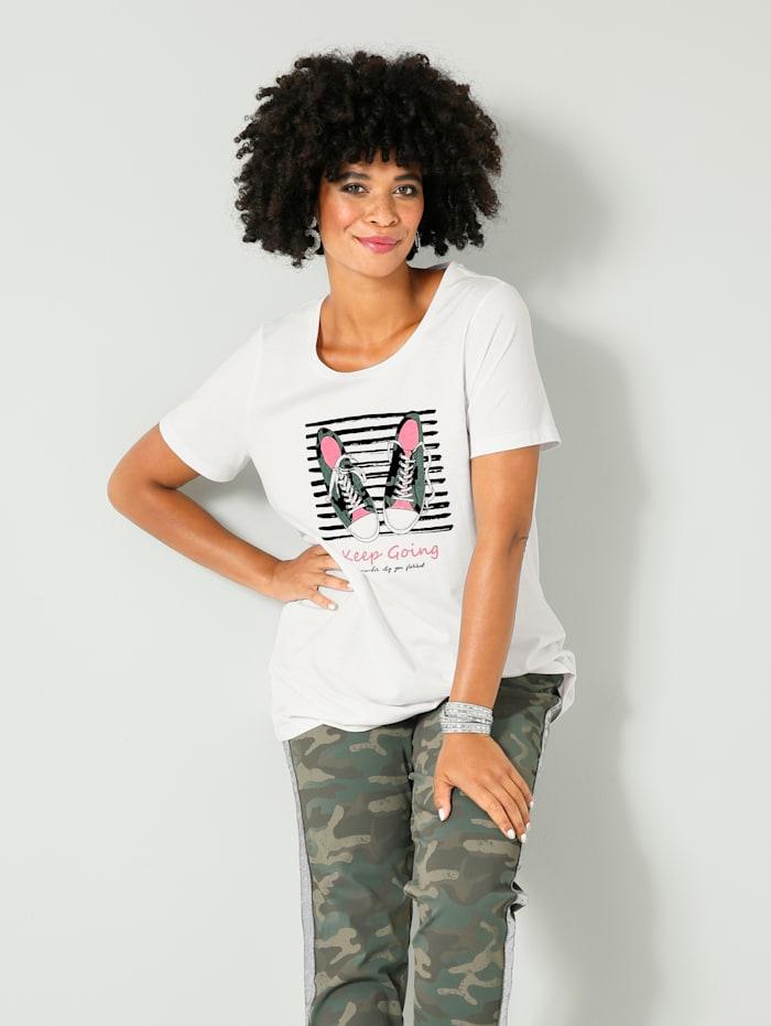 Angel of Style Shirt mit modischem Druckmotiv vorne, Weiß/Oliv/Pink