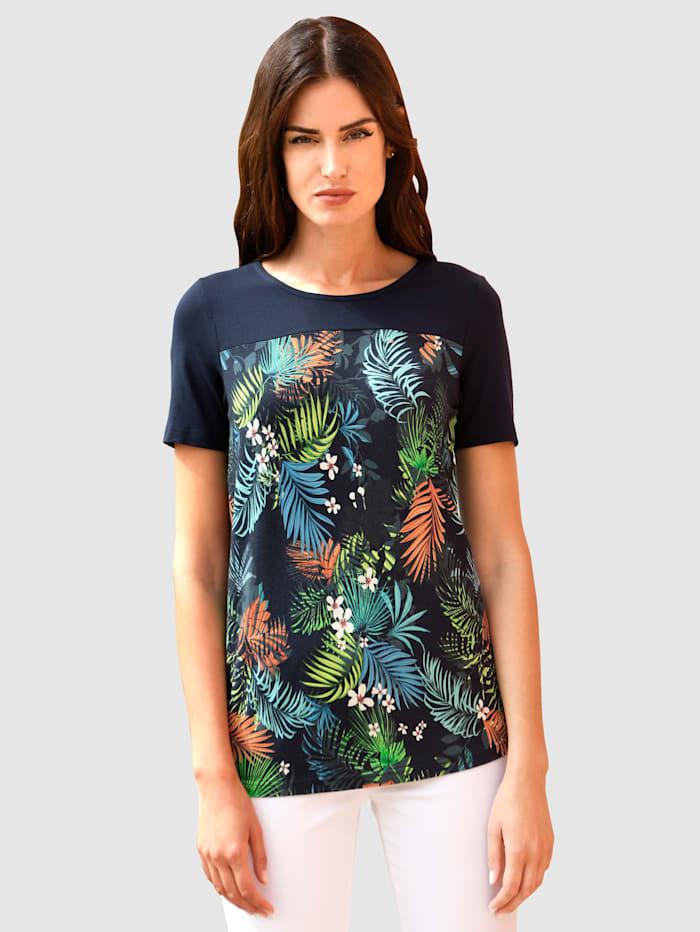 Paola Shirt im modischen Druckdessin, Marineblau