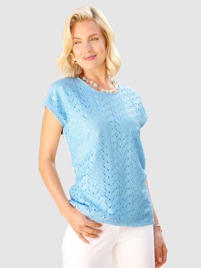 Paola Shirt met bloemenkant, Lichtblauw